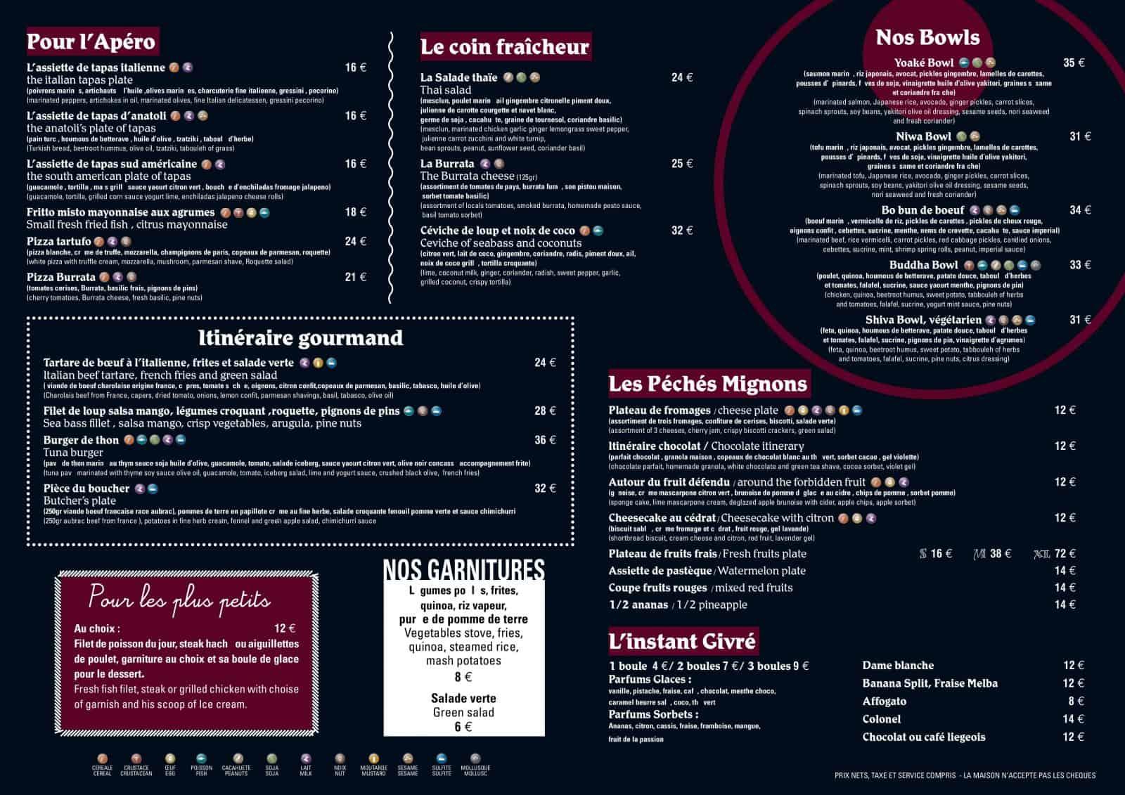 Carte du restaurant Eden Plage Mala à Cap d'Ail