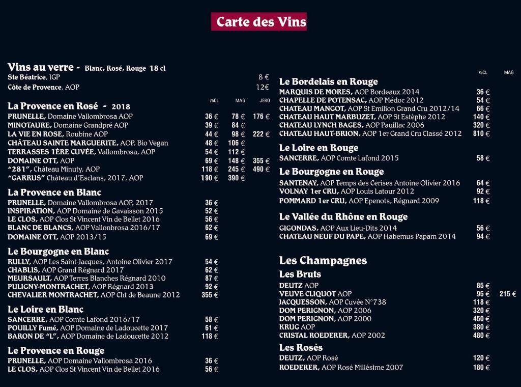 Carte des vins Plage Mala